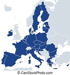 European Union member states after Brexit, political map. ...