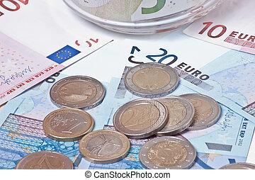 European Union money close view