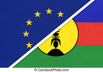 European Union or EU and New Caledonia national flag from textile. Symbol of the Council of Europe association.