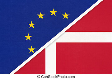 European Union or EU vs Denmark national flag from textile. Symbol of the Council of Europe association.