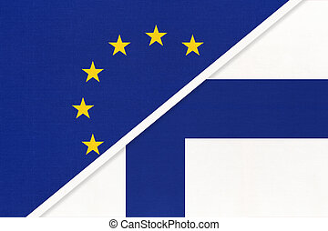 European Union or EU vs Finland national flag from textile. Symbol of the Council of Europe association.