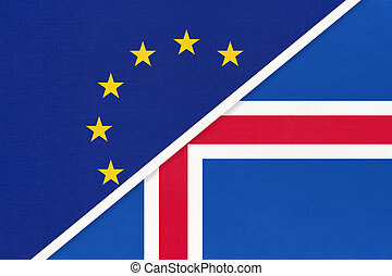 European Union or EU vs Iceland national flag from textile. Symbol of the Council of Europe association.