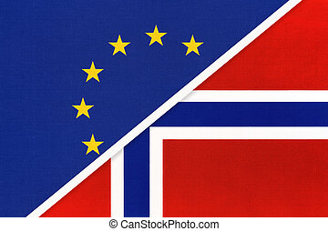 European Union or EU vs Norway national flag from textile. Symbol of the Council of Europe association.