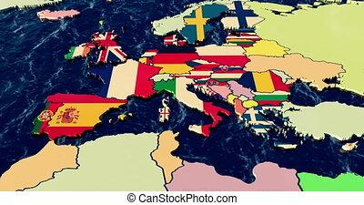 European Union Pre to Post Brexit, Union Jack flag fades as...