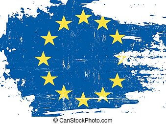 European union scratched Flag