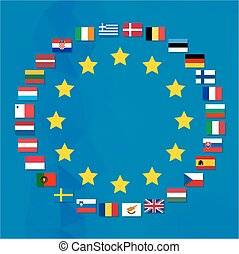 European Union symbol with the flags of all the countries...