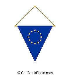European Union triangle flag hanging, vector illustration