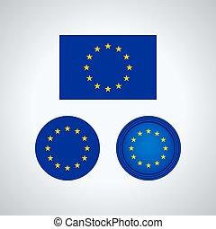 European Union trio flags, vector illustration