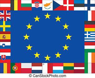 European Union flags icons frame