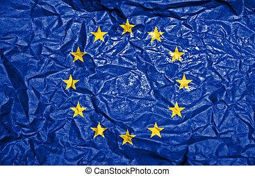 European Union vintage flag on old crumpled paper background