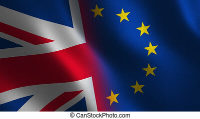 European Union vs. United Kingdom flag waving 3d. Transition. Alpha channel.