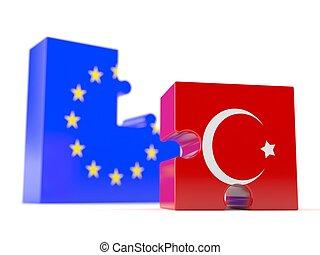 European union with Turkey flag