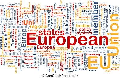 Word cloud concept illustration of EU European Union