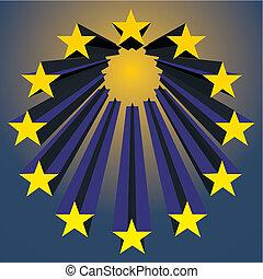 european unions stars exploding (vector illustration)