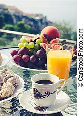 European vacation healthy breakfast.