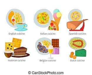 European vector food cuisine tasty dinner food showing delicious luxury Italy rome rustic snack plate flat illustration