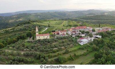 European village morning - Aerial view on small european ...