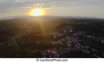 European village morning - Sunrise in small european village...