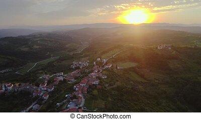 European village morning - Sunrise in small village in ...