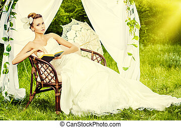 european wedding - Charming elegant bride under the wedding ...