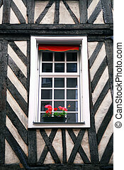 European window - Window in a medieval half-timbered house...