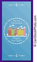 European winter city on greeting card for Christmas