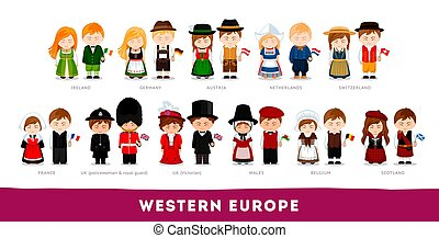 Europeans in national clothes. Western Europe. Set of ...
