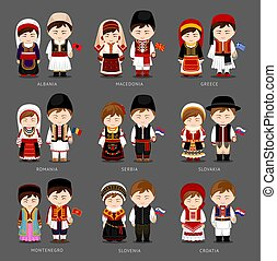 Europeans in national dress.