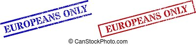 EUROPEANS ONLY Grunge Rubber Seal Stamps with Rectangle Frame