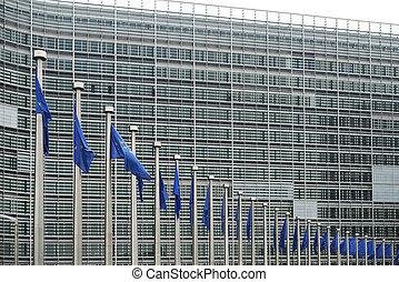 europees verslapt, voor, de, berlaymont, gebouw, hoofdkwartier, van, de, europeaan opdraag, in, brussels.