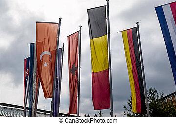 europees vlag, en, anderen, vlaggen