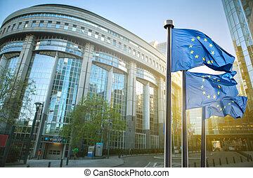 europeisk sammanslagning flagga, mot, parlament, in, bryssel
