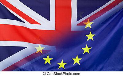 europejska bandera, połączony, z, bandera, od, wielka...