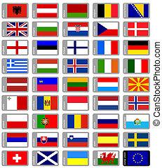 europejskie bandery, komplet