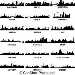 europejskie miasto, profile na tle nieba
