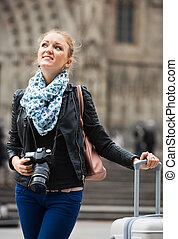 europenian, tomar fotografías, vistas, niña