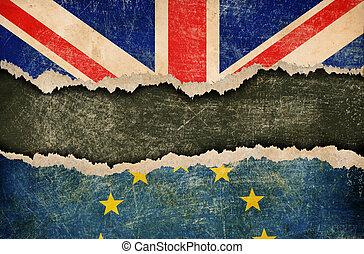 europeo, brexit, retirada, gran bretaña, grande, concepto, unión