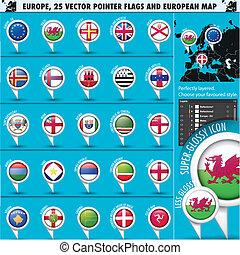 europeo, iconos, redondo, indicador, banderas, y, mapa, set3.