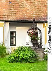 europeo, rural, casa, jardín, fountain.