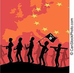 europeo, terrorista, isis, mapa, silueta