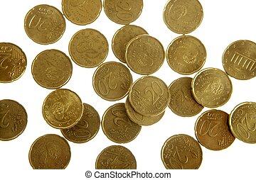 europese munt, op, witte