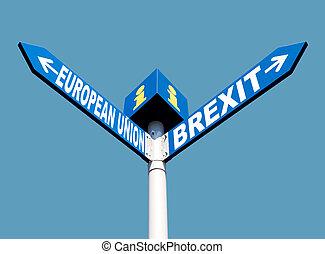 europese unie, en, brexit, wegaanduidingen