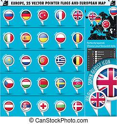 europeu, ícones, redondo, indicador, bandeiras, e, mapa, set1