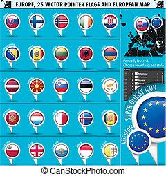 europeu, ícones, redondo, indicador, bandeiras, e, mapa, set2