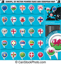 europeu, ícones, redondo, indicador, bandeiras, e, mapa, set3.