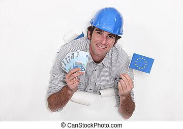 europeu, construtor, com, dinheiro