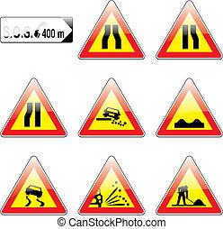 europeu, tráfego, vetorial, detalhes, sinais