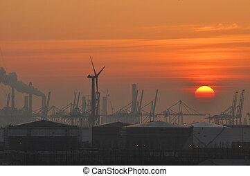 Europoort at sunset