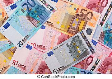Euros background photo - Photo of overlapping Euro banknotes...