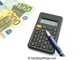 euros banknotes, calculator and blue pen